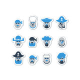 Pirate head set, characters avatar. Stock Image