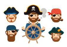 Pirate at the helm of ship. Corsair. Funny sailor. Cartoon flat design Stock Image