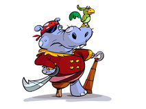 Pirate Hippo. An illustrated cartoon of a pirate hippopotamus, isolated on a white background Stock Image
