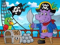 Pirate hippo theme 3 Stock Photo
