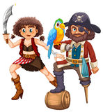 Pirate and his crew with weapon. Illustration Royalty Free Stock Photography