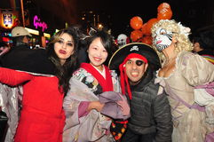 Pirate and his girls at Zombie walk and parade. A pirate with a geisha and a vampire on the 2015 Zombie walk and parade in Toronto, Ontario, Canada Royalty Free Stock Photography