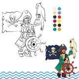 Pirate with his parrot Stock Images