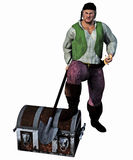 Pirate with his treasure Chest Stock Image