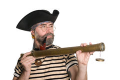 Pirate holding a telescope Stock Image