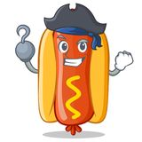 Pirate Hot Dog Cartoon Character. Vector Illustration Royalty Free Stock Photos