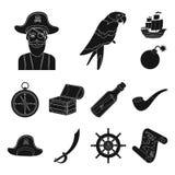 Pirate, icônes de noir de voleur de mer dans la collection d'ensemble pour la conception Les trésors, attributs dirigent l'illust illustration de vecteur