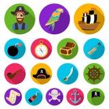 Pirate, icônes plates de voleur de mer dans la collection d'ensemble pour la conception Les trésors, attributs dirigent l'illustr illustration libre de droits