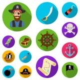 Pirate, icônes plates de voleur de mer dans la collection d'ensemble pour la conception Les trésors, attributs dirigent l'illustr illustration stock
