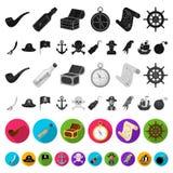 Pirate, icônes plates de voleur de mer dans la collection d'ensemble pour la conception Les trésors, attributs dirigent l'illustr illustration de vecteur