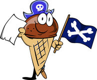 Pirate ice cream cone with blank paper and pirate flag Royalty Free Stock Photo