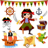 Pirate icon set. Pirate, parrot, ship, saber, helm, treasure chest, anchor, jolly roger Royalty Free Stock Images