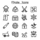 Pirate icon set in thin line style Royalty Free Stock Photo