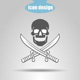 Pirate Icon. Skull With Two Swords On A Gray Background. Vector Illustration Stock Photo