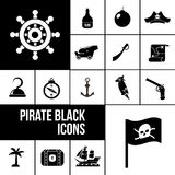 Pirate icons black set Royalty Free Stock Image
