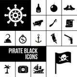 Pirate icons black set Royalty Free Stock Image