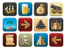 Pirate Icons Collection Royalty Free Stock Photo