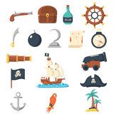 Pirate icons flat set Royalty Free Stock Photography