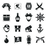 Pirate icons set black Royalty Free Stock Photos