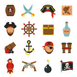 Pirate icons set flat Stock Images