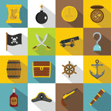 Pirate icons set, flat style. Pirate icons set. Flat illustration of 16 pirate vector icons for web Royalty Free Illustration