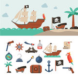 Pirate icons set Royalty Free Stock Images