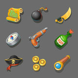 Pirate icons set. Set of corsair items. Different weapon, compass, coin, gun, sword, and treasure map. Royalty Free Stock Photo