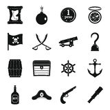 Pirate icons set, simple style. Pirate icons set. Simple illustration of 16 pirate vector icons for web Stock Image