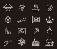 Pirate icons. Set of white outline icons relating to Pirates on black background Royalty Free Stock Photos