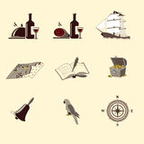 Pirate icons: ship, treasure chest, compass Stock Photos