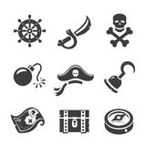 Pirate Icons  Skull and chest, pirates treasure map, pirates hat and sword. Stock Photos