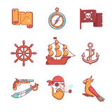 Pirate icons thin line set Stock Images