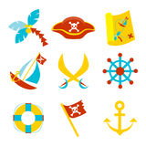 Pirate icons. Vector set icons with pirate symbols Royalty Free Stock Photos