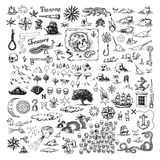 Pirate map elements. Set of monochrome illustrations of subjects connected with piracy, including skull and cross bones, treasure island, monsters, ship, sailing Royalty Free Stock Image