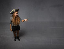 Pirate indicated lateral empty space. Dark background stock image