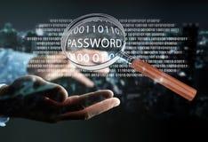 Pirate informatique à l'aide de la loupe numérique pour trouver le mot de passe 3D pour rendre Image libre de droits