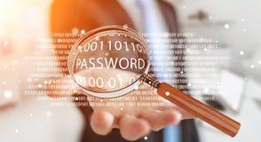 Pirate informatique à l'aide de la loupe numérique pour trouver le mot de passe 3D pour rendre Photos stock