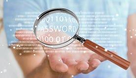 Pirate informatique à l'aide de la loupe numérique pour trouver le mot de passe 3D pour rendre Photos libres de droits