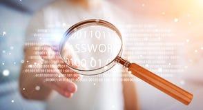 Pirate informatique à l'aide de la loupe numérique pour trouver le mot de passe 3D pour rendre Images stock