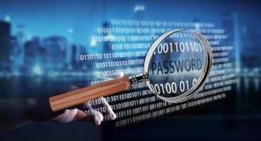 Pirate informatique à l'aide de la loupe numérique pour trouver le mot de passe 3D pour rendre Image stock