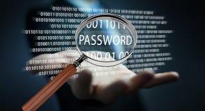 Pirate informatique à l'aide de la loupe numérique pour trouver le mot de passe 3D pour rendre Photographie stock libre de droits