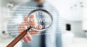 Pirate informatique à l'aide de la loupe numérique pour trouver le mot de passe 3D pour rendre illustration de vecteur