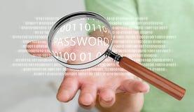 Pirate informatique à l'aide de la loupe numérique pour trouver le mot de passe 3D pour rendre Photo libre de droits