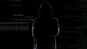 Pirate informatique anonyme dans le hoodie avec des bras croisés sur le fond de nombres et de codes images stock