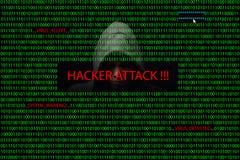 Pirate informatique au-dessus d'un écran avec le code binaire et les messages d'avertissement Image stock