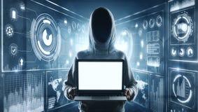 Pirate informatique avec l'ordinateur portable de maquette au fond numérique illustration stock