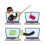 Pirate informatique avec la canne à pêche, attaque phishing d'ordinateur Image stock