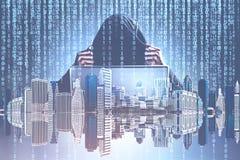 Pirate informatique dans une ville, des zéros et ceux image libre de droits