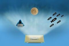 Pirate informatique, DDoS et bitcoin illustration libre de droits