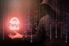 Pirate informatique employant le ransomware de Petya pour l'attaque de cyber photographie stock